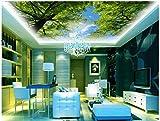 Wxlsl 3D-Raum Tapete Benutzerdefinierte Foto Vlies Blauer Himmel Und Grüne Bäume Decke Wandbilder Dekoration Malerei 3D Wandbilder Tapete-150Cmx105Cm