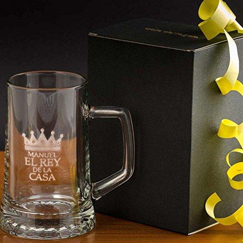 Regalo original para hombre jarra de cerveza de cristal para el Rey de la casa personalizada con nombre en estuche. El mejor regalo para cumpleaños y Día del Padre.