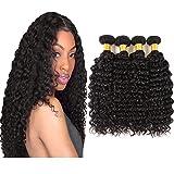 Huarisi Cheveux virginal profond bouclé cheveux Brésilien extensions 100% cheveux vrai Brésilien humain 18 20 22 24 pouces couleur naturelle emballage de 4 paquets
