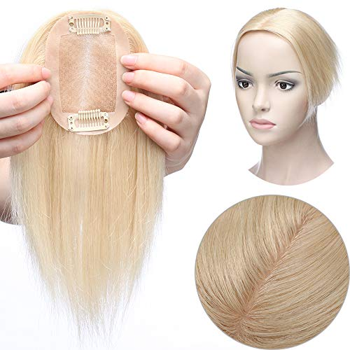 Haarteil Toppr Remy Echthaar Clip in Extensions Haarverlängerung Pony Toupee Frauen Toupet Platinumblond#60 10