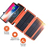XIYIHOO Solar Charger Power Bank 20000mAh, Portable Charger 5W Wireless Charger Compatible Qi-Enabled