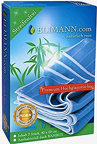 Elimann® Bambus Tuch Premium Hochglanztücher, Reinigung Set für Fenster/Glas/Spiegel/Scheiben/Besteck/Brillen/Autos/Bad/Möbel STREIFENFREIEN FUSSELFREIEN Glanz 3 X 40x50 cm
