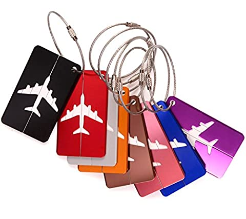 Ailiebhaus Metal Luggage Tags Handbag Tags Suitcase ID Tags Labels 8 Patterns