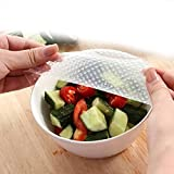 OUMOSI 4PCS Reusable Silicone Food Wrappers Eco-friendly Silicone Food Fresh-Keeping Preservative Film