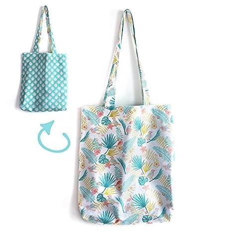Tote bag réversible sac tissu tropical fleurs hibiscus feuilles de palmier exotique couleurs pastel printemps été bleu turquoise handmade fait main
