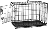 AmazonBasics Single-Door Folding Metal Dog Cage with Paw Protector (30 inches)