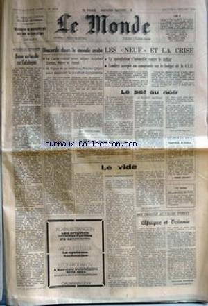 MONDE (LE) [No 10218] du 07/12/1977 - EN RAISON DES VIOLATIONS DES DROITS DE L'HOMME - WASHINGTON NE POURSUIVRA PAS SON AIDE AU CENTRAFRIQUE - BULLETIN DE L'ETRANGER - UNION NATIONALE EN CATALOGUE - DISCORDE DANS LE MONDE ARABE PAR J.-P. PERONCEL-HUGOZ - LES NEUF ET LA CRISE - LE POT NOIR PAR GILBERT MATHIEU - LA ROUMANIE, SPARTE DES BALKANS - AU JOUR LE JOUR - ESPACE D'ASILE PAR ROBERT ESCARPIT - LE VIDE PAR PIERRE VIANSSON-PONTE - LES COURS DE LA BOURSE DE PARIS - ART PRIMITIF AU par Collectif