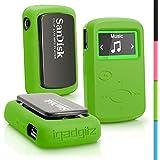 iGadgitz Green Rubber Silicone Case for Sandisk Sansa Clip Jam MP3 SDMX26-008G (2015) Gel Skin Cover