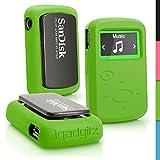 igadgitz Verde Funda Carcasa Goma Silicona para Sandisk Sansa Clip Jam Reproductor de MP3 SDMX26-008G (2015) Cubierta Case Cover