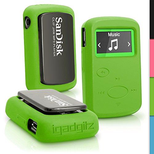 igadgitz u4293Handy Silikon für SanDisk Sansa Clip Jam SDMX26–008G Cover–Grün (Mp3-player Sansa Armband)