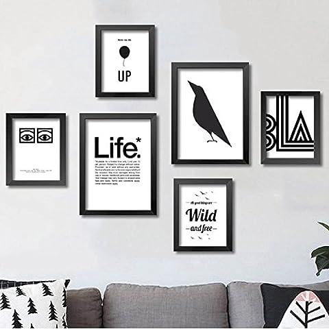 modylee Serie bianco e nero di lettere linoleum appendere quadri pittura pitture decorative soggiorno camera 6pc su tela 35*50