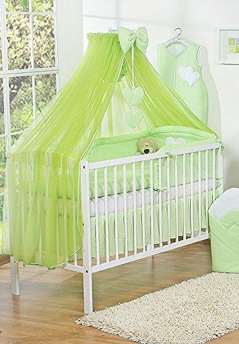 Dosel de cama infantil con mosquitera, tamaño grande, diseño de corazones, color verde