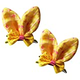 Brand New Baby Girl Hair Clips Toddler Infant Hair Accessories Bowknot Butterfly Design Hair Clips Set of 2 (Yellow)