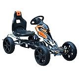Homcom Kart à pédales Go-Kart Enfants 122L x 60l x 70H cm Ø Roues 29 cm siège Ergonomique Orange Noir...