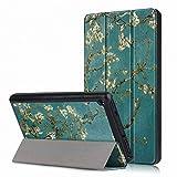 Femkeva 2019 Tablet-Hülle, ultradünn, Standfunktion, Smart Cover mit automatischer Aufwach- / Schlaffunktion für Amazon Kindle Fire 7 Tablet (9. Generation 2019) Apricot Flower