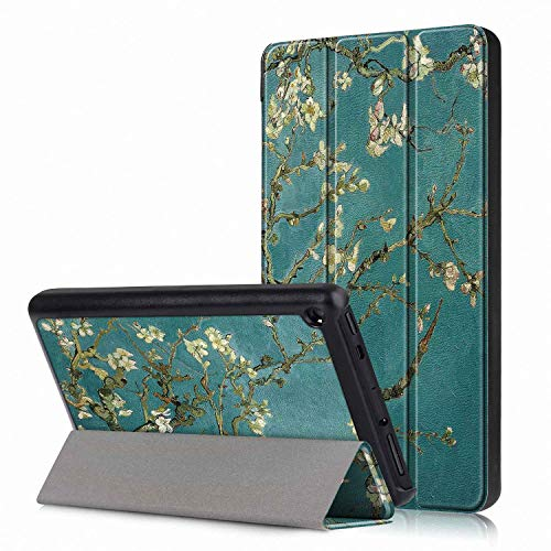 Femkeva 2019 Tablet-Hülle, ultradünn, Standfunktion, Smart Cover mit automatischer Aufwach- / Schlaffunktion für Amazon Kindle Fire 7 Tablet (9. Generation 2019) Apricot Flower - Apricot Flower