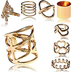 tumundo Set de 8 Piezas / 1 Pieza Anillo Dedo Oro Knuckle Conjunto Apilar Bohemia Boho Joyería Nudillo Vintage Strass, modelo:Alle Modelle / All models
