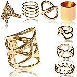 tumundo Set von 8 Stk / 1 Stk Damen-Ringe Ringset Golden Fingerspitzen-Ring Obergelenk-Ring Knuckle Strass Vintage Boho, Modell:Alle Modelle