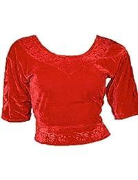 Rot Choli (Sari Oberteil) Samt Gr. S bis 3XL ideal für Bauchtanz