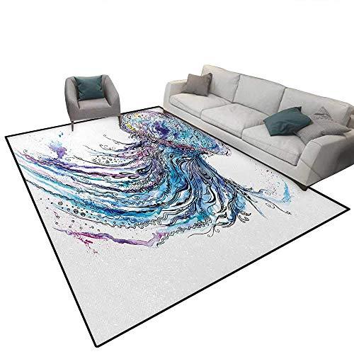 MJIAX Quallen-Teppich Aqua-Farben Art Ocean Animal Print Sketch Stil Kreatives Meeresmotiv Teppich Pads Bereich Teppiche Fläche Teppiche 5,1 x 91,4 cm Blau Lila Weiß, Textil, 5'8