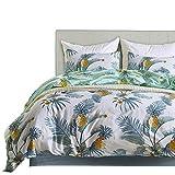 Xiongfeng Bettwäsche Set 135x200 Blätter Blumenmuster Bettbezug 2 Teilig mit Kissenebzug 80x80cm, Sommer Wendebettwäsche Ananas weiß-grün