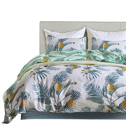 Boqingzhu Wende Bettwäsche 200x200 Grün Weiß 3 Teilig Ananas Tropische Pflanzen Baumwolle-Mischgewebe für Doppelbett 1 Bettdeckenbezug mit Reißverschluss und 2 Kopfkissenbezüge 80 x 80cm