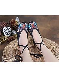 7a795214 LJYBX Zapatos de Mujer Folk-Custom Old Beijing Zapatos de Tela Zapatos de  Lona Incremento de Altura Pendiente de Fondo Suave Sandalias…