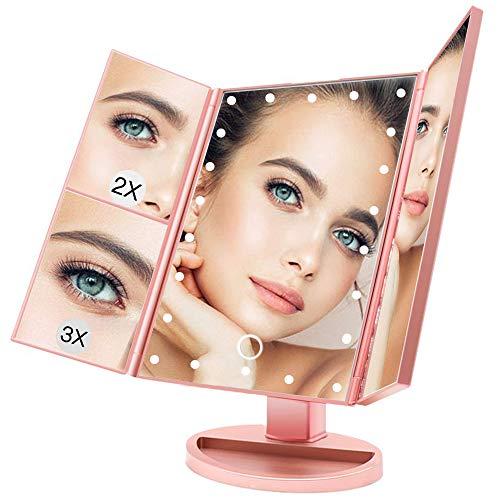 BUDDYGO Espejo Maquillaje con Luz LED, Profesional Espejo Cosmético 1X, 2X, 3X Espejo Aumento Plegable...