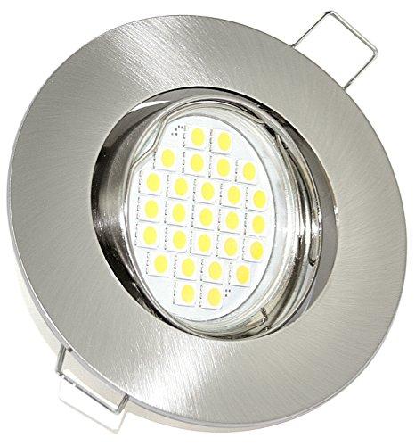 LED Einbaustrahler - Edelstahl gebürstet rund | Schwenkbar | 230V 5Watt LED warmweiß 450 Lumen 2700-3000 Kelvin | Lampenfassung inklusive (GU10) | Einbaurahmen Einbauspot