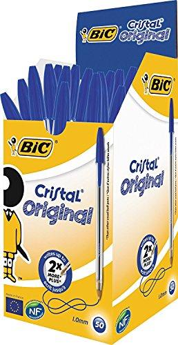 BIC 8373609 Kugelschreiber Cristal Medium, Blau, Strichstärke 0,4mm, 50 Stück