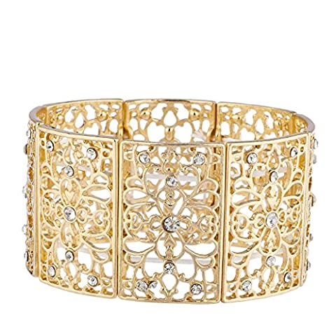 Lux Accessoires Doré en filigrane Strass Motif floral Bracelet élastique