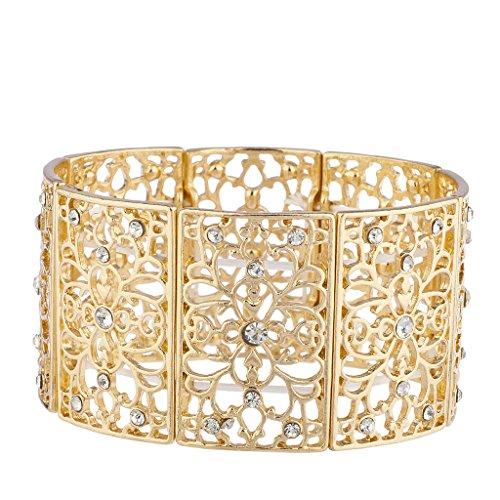 Lux Accessories, goldfarbenes filigranes Stretch-Armband mit Blumenmuster und Strasssteinen (Jones Aus Jersey-stretch)