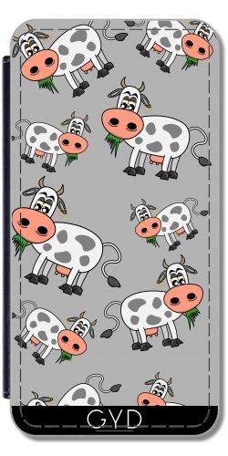 DesignedByIndependentArtists Leder Flip Case Tasche Hülle für Samsung Galaxy S8 Plus (SM-G955) - Kuh Essen Gras by zorg (Gras Essen)