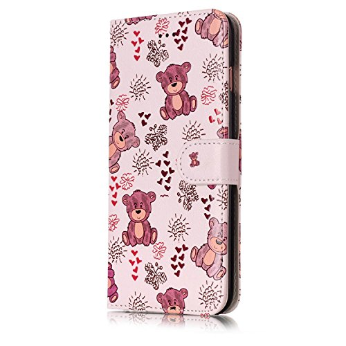 Custodia iPhone 6, iPhone 6S Flip Case Leather, SainCat Custodia in Pelle Cover per iPhone 6/6S, Anti-Scratch Book Style Protettiva Caso PU Leather Flip Portafoglio Custodia Libro Protettiva Custodia  Orso