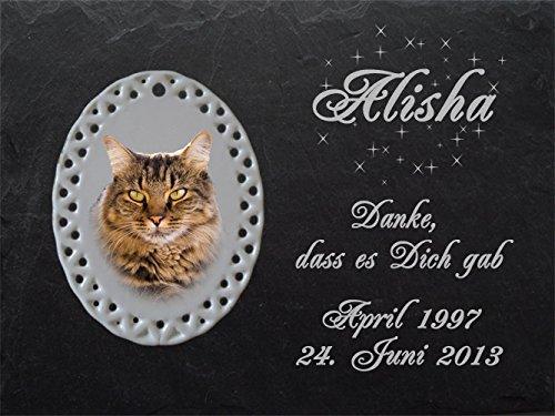 """Schiefertafel mit wetterfester Lasergravur des Motives """"Katze-015"""" (mit Ihrem eigenen Foto) und Ihrem Text/Daten in der gewünschten Schriftart z.B. als Grabschmuck auf das Grab oder als Schmucktafel für Zuhause von LaserArt27"""