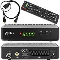 Anadol HD 202c - Receptor digital Full HD para televisión por cable (HDTV, DVB-C / C2, HDMI, SCART, reproductor multimedia, USB 2.0, 1080p) [instalación automática] Incluye cable HDMI – Negro