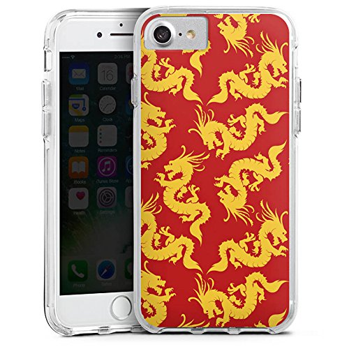Apple iPhone 6 Plus Bumper Hülle Bumper Case Glitzer Hülle Pattern Muster Gold Bumper Case transparent