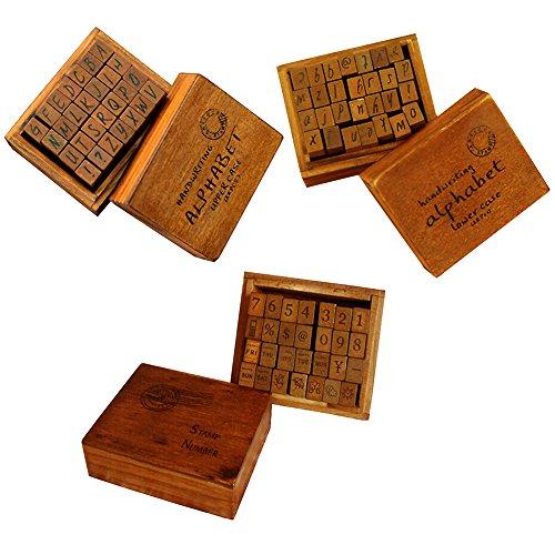 gossipboy Vintage Holz Gummi Stempel Buchstaben Alphabet für Heimwerker Craft Karte machen Happy Planer Scrapbooking Supplies Reisenden Fachzeitschriften Handwriting Set -
