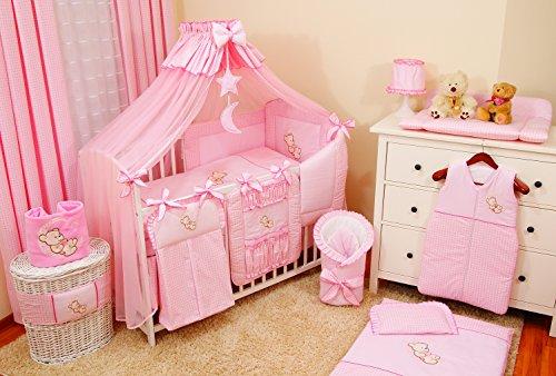 Lux4Kids Kinderbettausstattung Bett Set 135x100 Nestchen Wickelauflage Himmel & Stange Mobile Kopfkissen Spannbettlacken 04 Mond Rosa