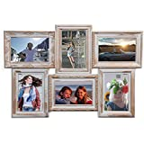 HAB & GUT (FR040) Bilderrahmen-Collage aus 6 weiß/goldenen Retro-Rahmen im Antiklook, Höhe 36 cm Breite 52 cm Tiefe 2 cm