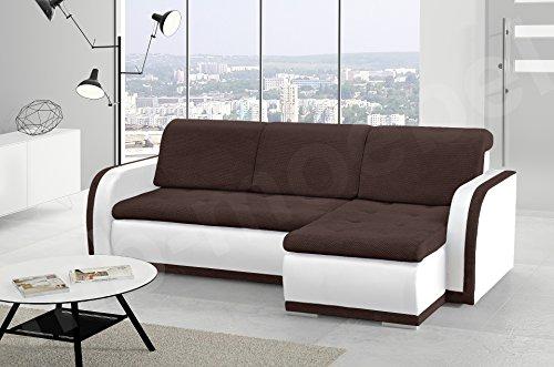 kleines Ecksofa Sofa Eckcouch Couch mit Schlaffunktion und Bettkasten L-Form Polstergarnitur große Farbauswahl - VERO I (Ecksofa Rechts, Braun + Weiß)