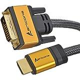 1 Meter High End & Highspeed HDMI zu DVI Kabel 19pol. mit vergoldeten Steckern und einem Nylon/Alu Geflecht und Aluminium-Gehäuse, blanken Kupferleitern und 24 Pins, by aricona - gut und günstig
