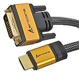 5 Meter High End & Highspeed HDMI zu DVI Kabel 19pol. mit vergoldeten Steckern und einem Nylon/Alu Geflecht und Aluminium-Gehäuse, blanken Kupferleitern und 24 Pins, by aricona