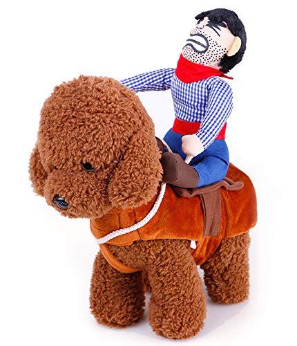 Kostüm Flanell Cowboy - LBX Haustier-Halloween-Cowboy-reitkostüm Baumwolle Und Flanell Braun Verschleißfest Und Leicht Zu Reinigen Weihnachten Lustiges Ritterkostüm