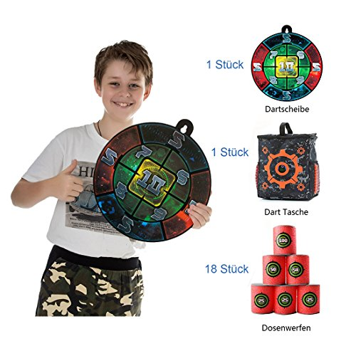 Zielscheibe Set für Nerf, CT-Tribe 1er Dartscheibe Dartboard Zielscheibe + 18er Dosenwerfen + 1er Dart Tasche Zubehör Kit Set for Nerf N-Strike Elite Serie Blasters Dart Kinder Toy Gun