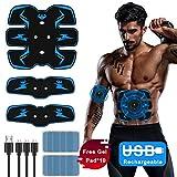 Yomera Bauchmuskelstimulator ABS Stimulator Trainingsgerät Muskelstimulator Bauchgürtel Wireless Portable Bauch/Arm/Bein Trainer Muskelaufbau und Fettverbrennung mit Blau