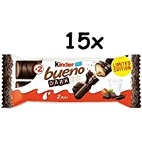 15 Kinder Ferrero Bueno Dark Italian Dark Chocolate Wafer Biscuit Cookie bar with a Hazelnut Cream