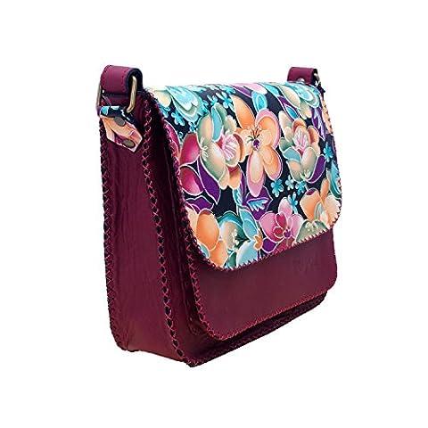 Koson Leather Echtes Kuhleder handgemachter Schultaschen-Schulter-Unisex Cross-Körper Partei-Festival-tägliche Handtaschen-Kurier-Beutel-Purpur