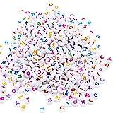 ESUMIC® Mixed 500PCS Acryl Kunststoff Buchstaben Perlen Bunte Spacer Würfel Alphabet Perlen für DIY Armbänder Halsketten Ketten (rund)