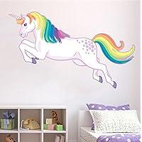 Unicorn Jumping Wall Sticker Rainbow Mane Decal Girls Room Nursery Decor Fantasy